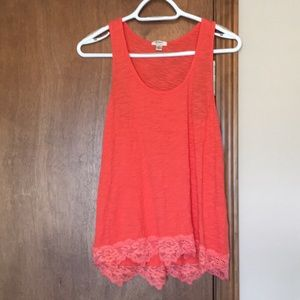 Orange-Red Tank with Lace Trim